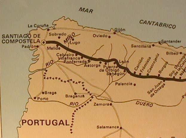 Road Map Of Northern Spain.El Camino De Santiago